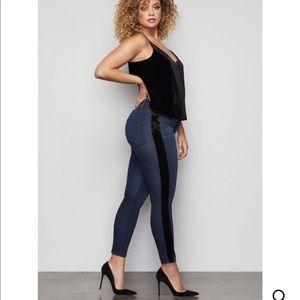 Good American Good Waist Crop Velvet Tuxedo Jeans